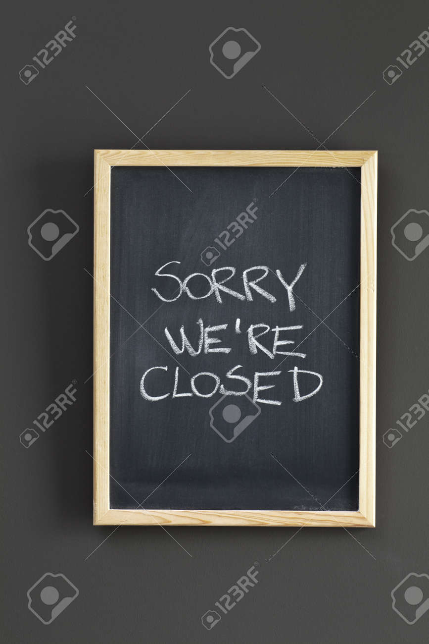 Closed Store sign on black board - 16874443
