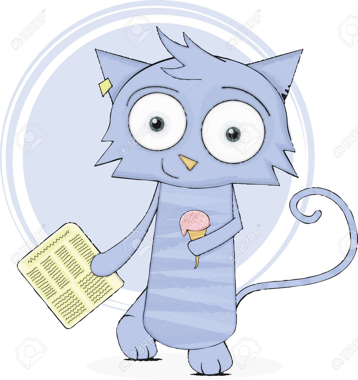 Cute cat with newspaper and ice-cream Stock Vector - 12326836
