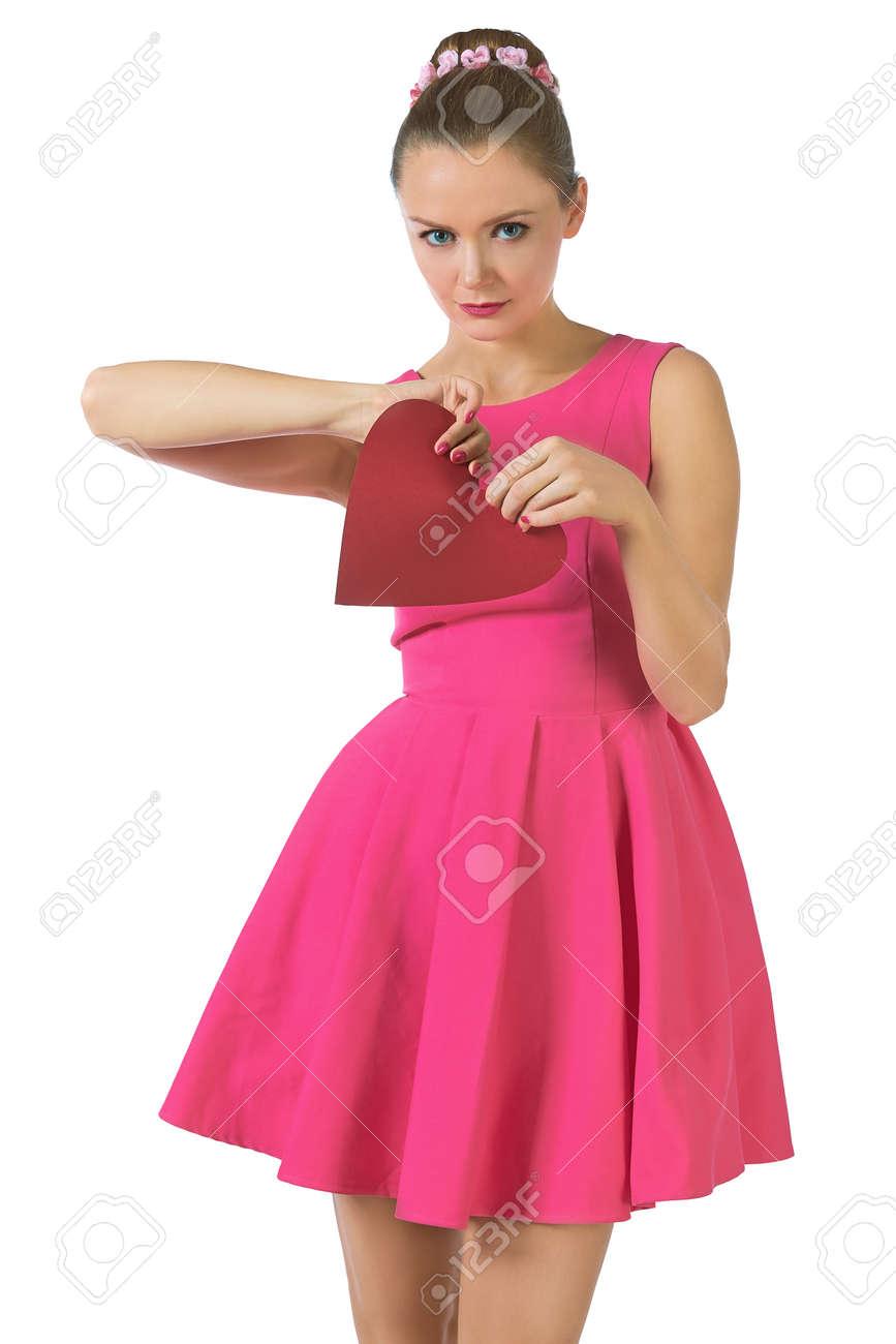 Mujer Joven Bonita En Vestido Rosa De última Hora Desgarrar El ...
