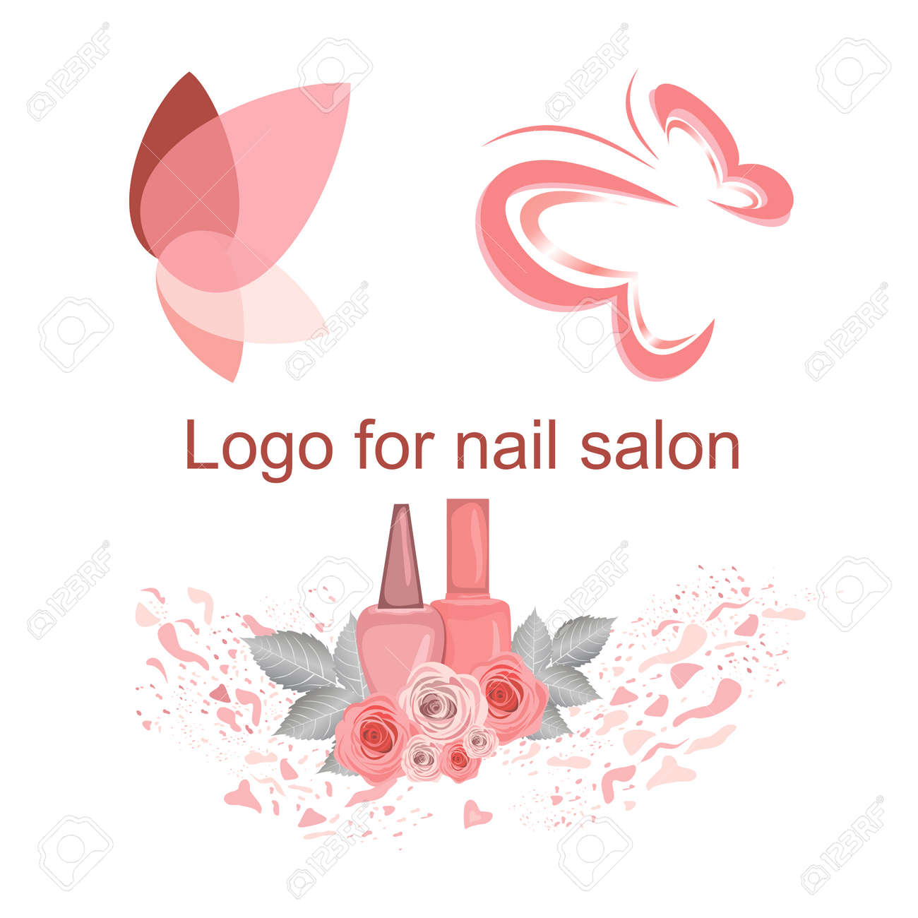Set of logos for a nail salon, cute butterfly drawings, nail polish jars, butterfly wings, flowers, varnish spray. Pleasant pink, for use in the design of the site, business cards - 136851080