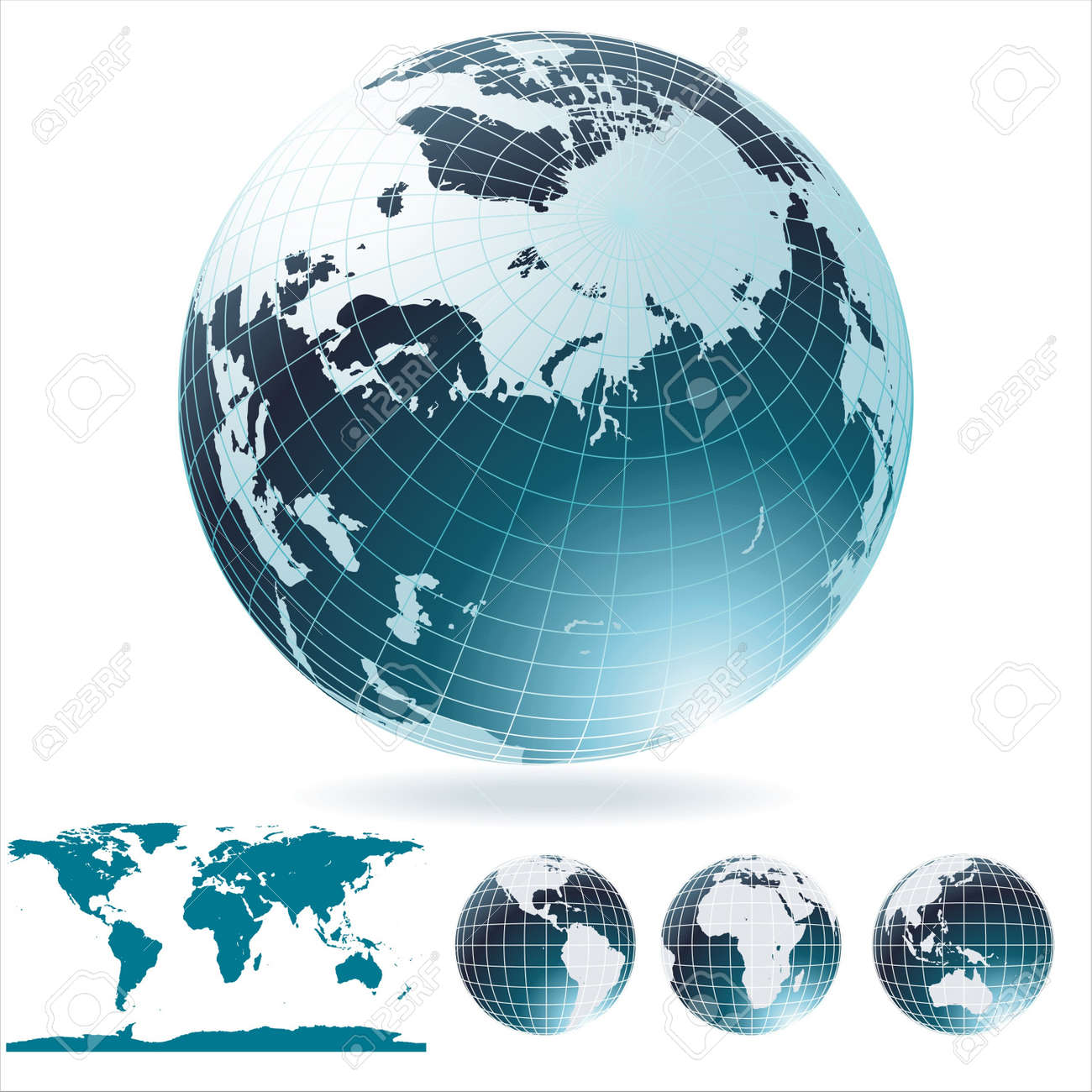 Globe And Detail Map Of The World Royalty Free Cliparts Vectors - Globe map of the world