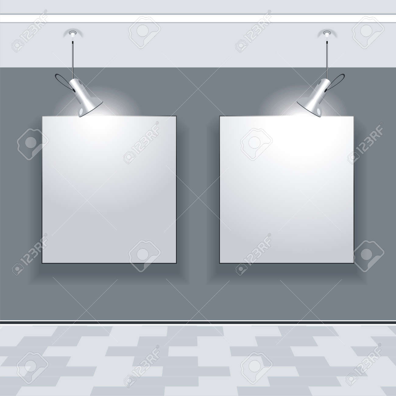 gallery interior with empty frames on wall stock vector 10042403 - Empty Frames On Wall