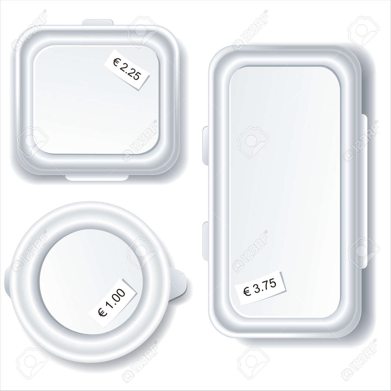 Plastic food storage containers isolated on white background. Stock Vector - 10283202