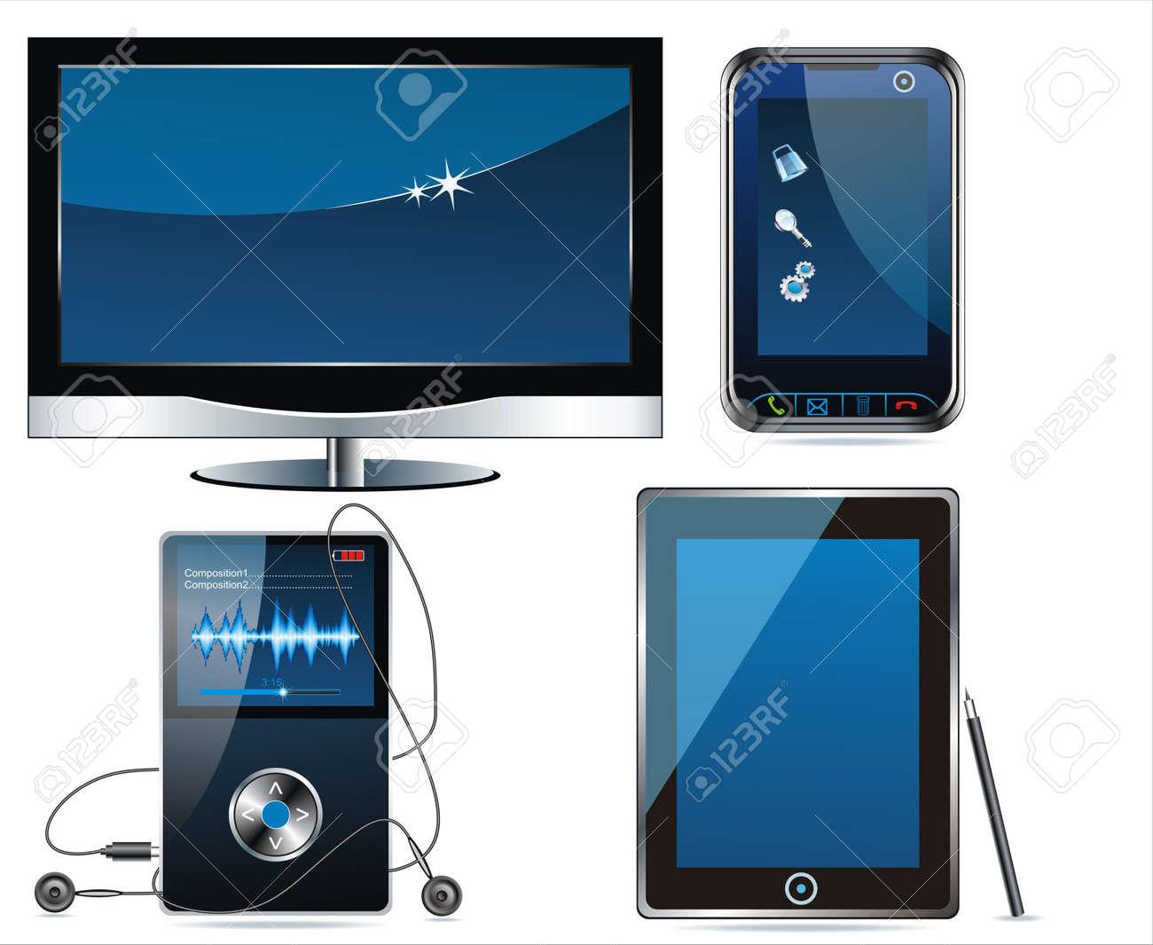 Concept electronic set . Media icon set. Vector Stock Vector - 10286229