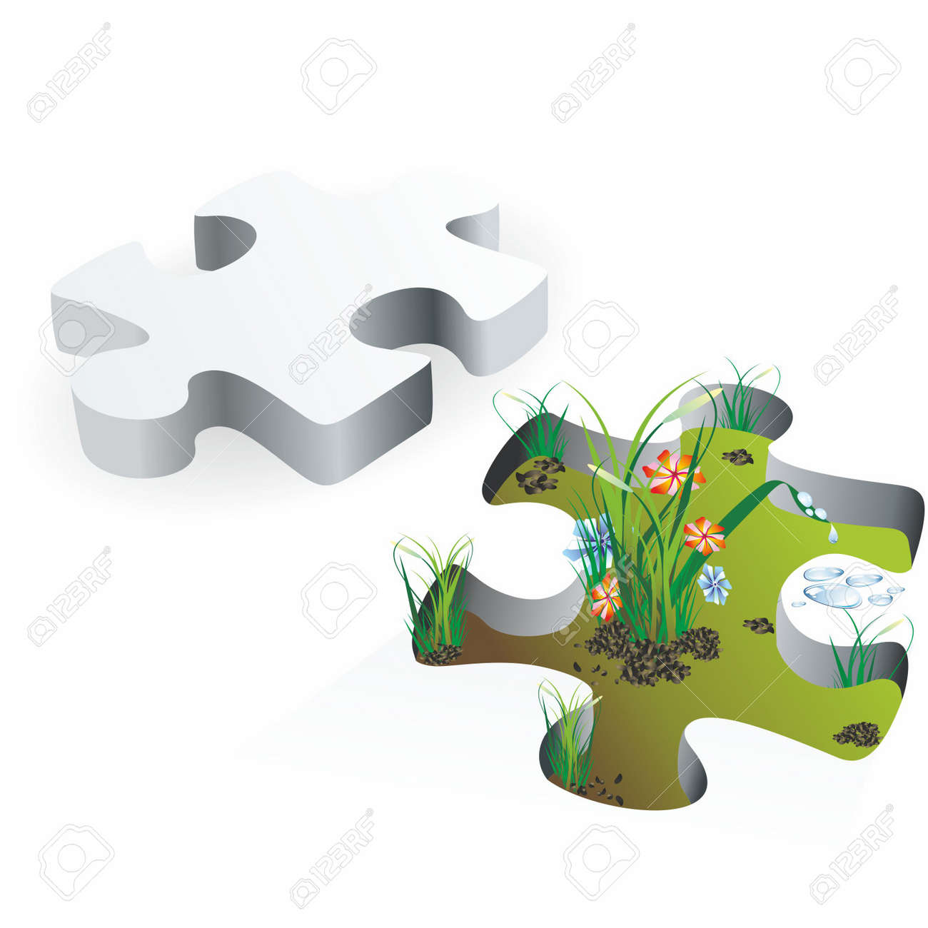 Puzzle and plant isolated on white background Stock Vector - 10330588