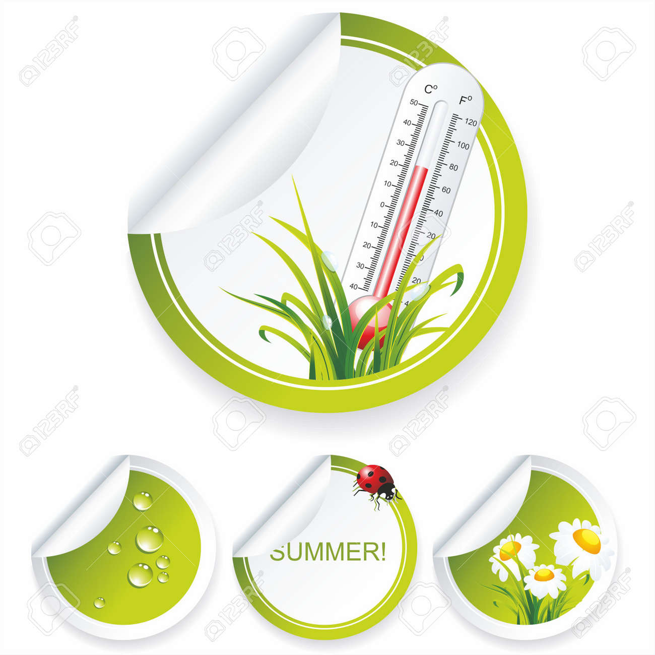 Eco sticker collection with flowers and water drops Stock Vector - 10430862