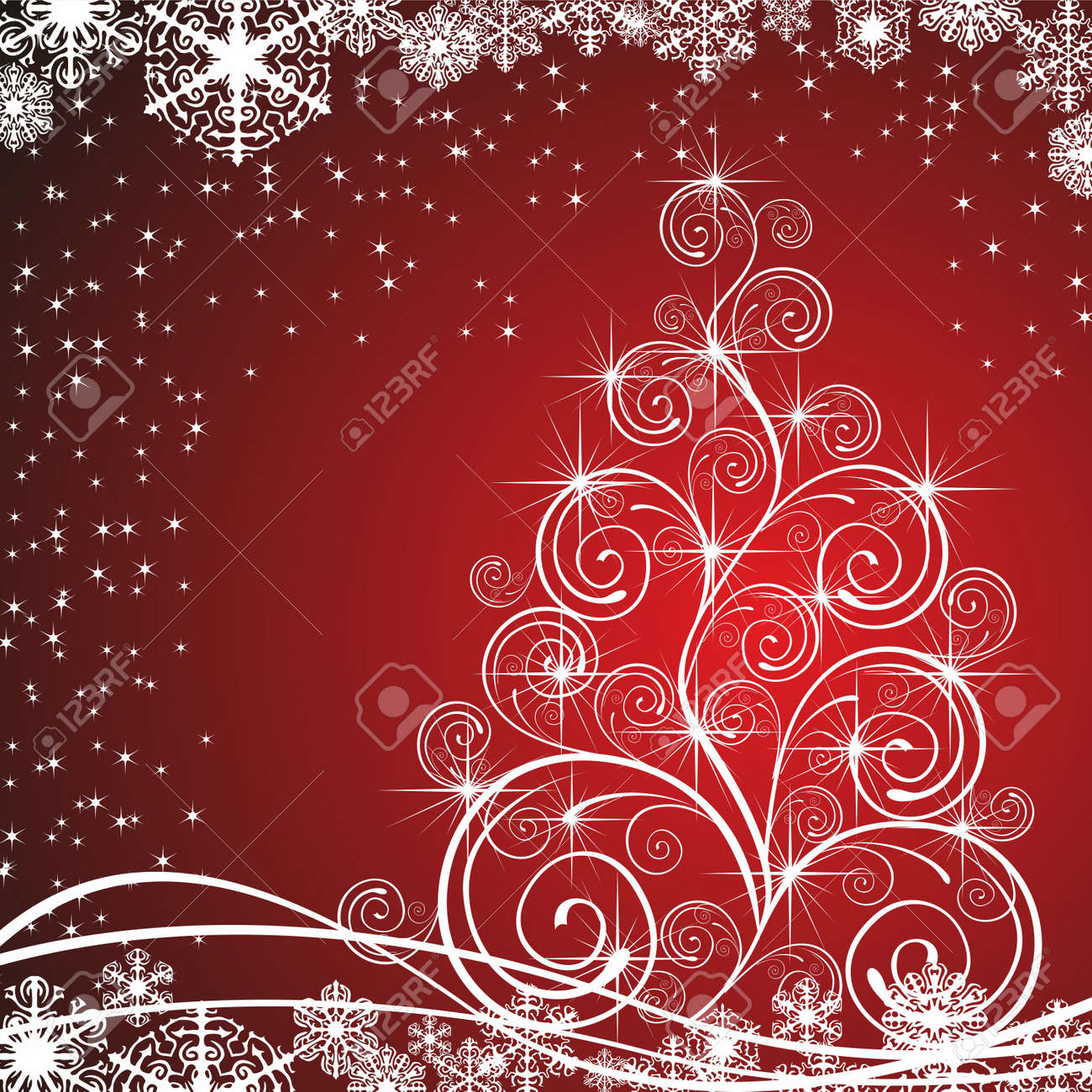 christmas template with swirly tree royalty free cliparts vectors