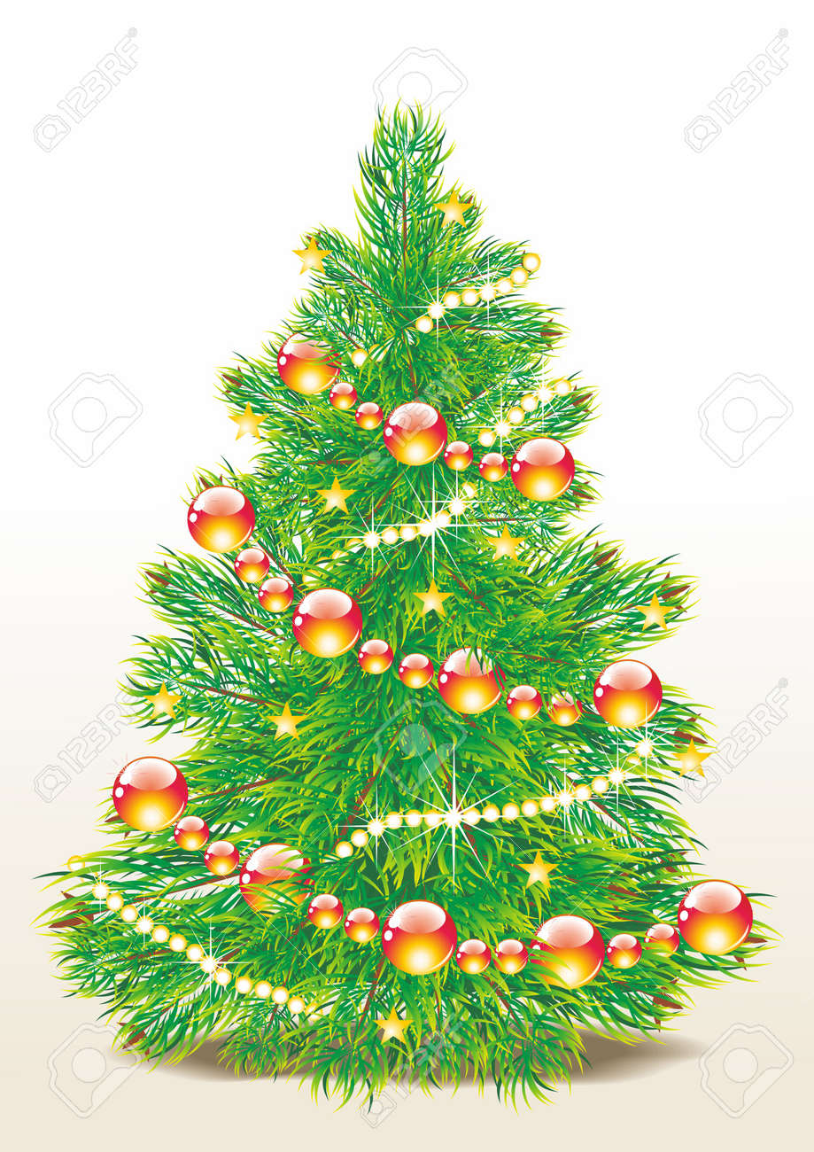 Christmas template with swirly tree Stock Vector - 10832268