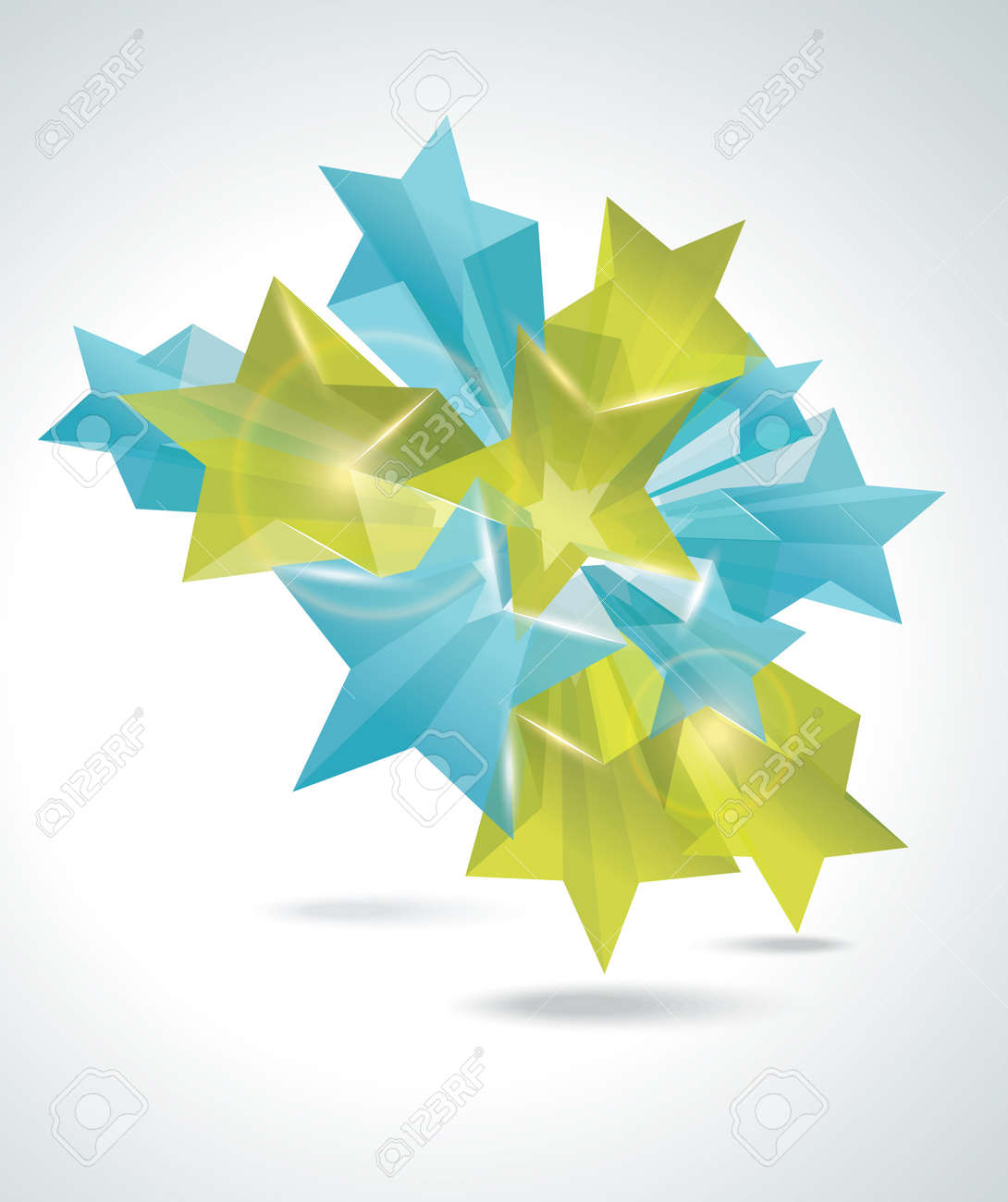 Abstract Colorful Background with 3d glass stars. Vector. Stock Vector - 11874020