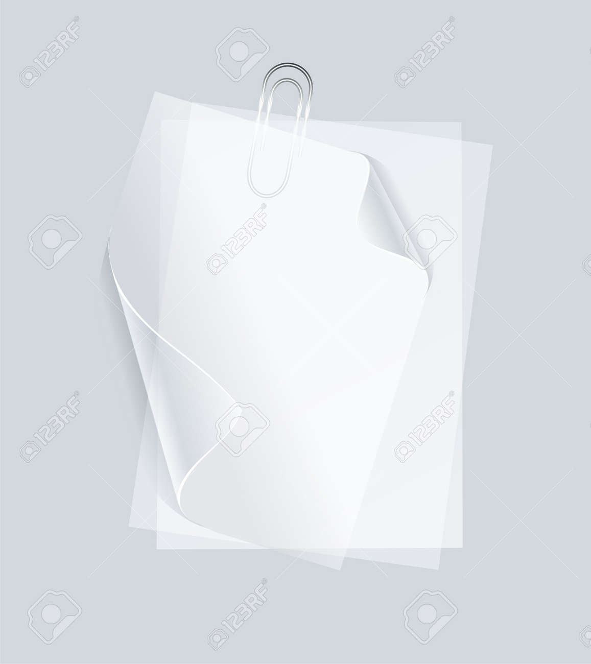collection of various white note papers or transparent stickers with pins Stock Vector - 11969266