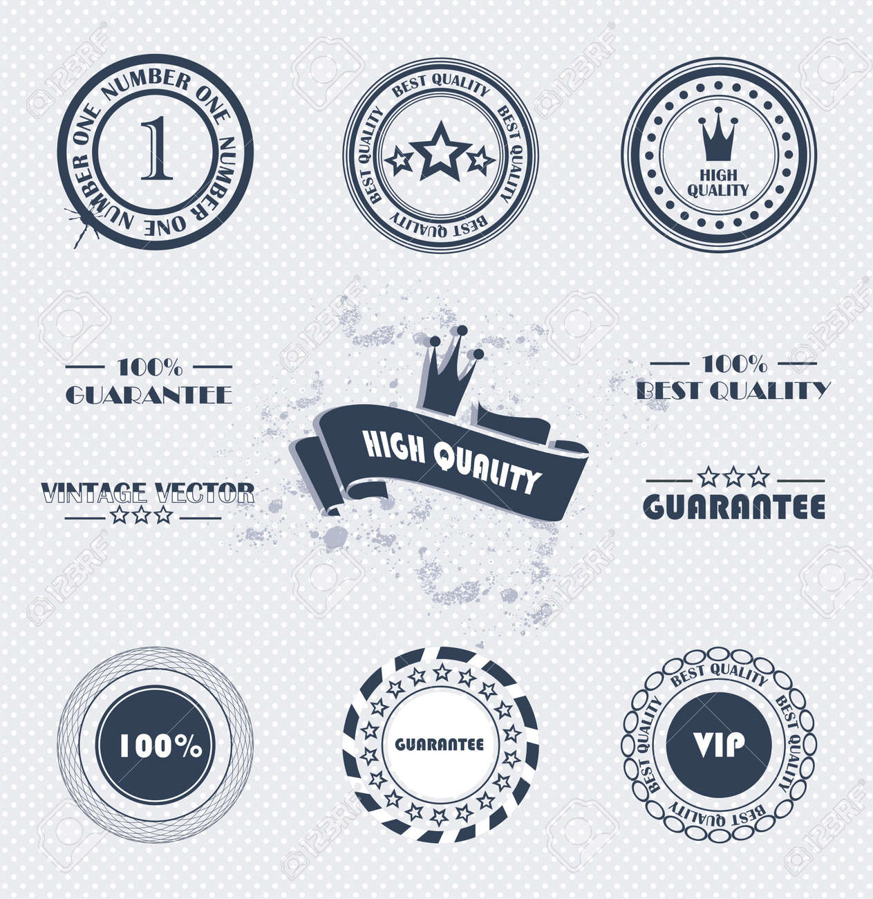 Set of vintage retro premium quality badges and labels Stock Vector - 13025589
