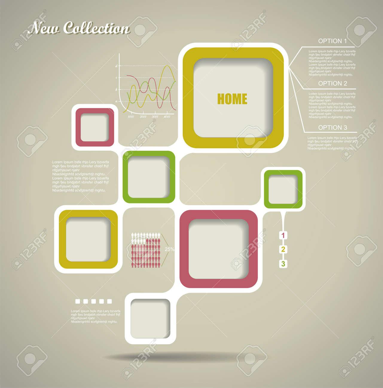 Estilo Retro Plantilla Web, Marco De Diseño Vectorial. Ilustraciones ...