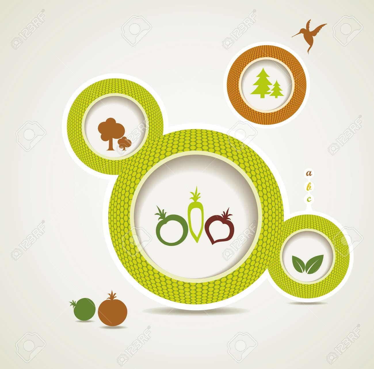 Set of organic and farm fresh food bubbles Stock Vector - 16612589