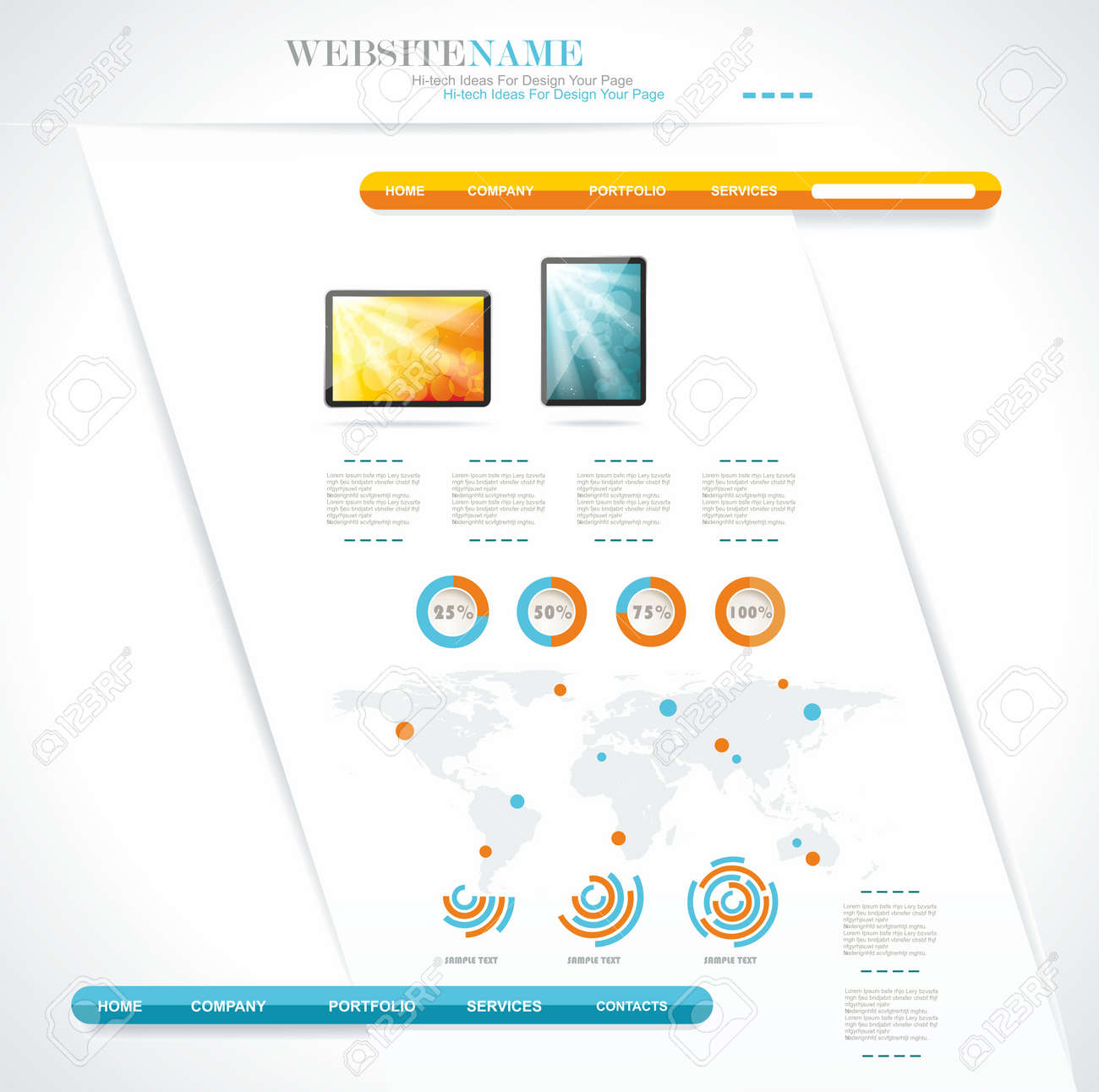 modern web site editable template Stock Vector - 16656136