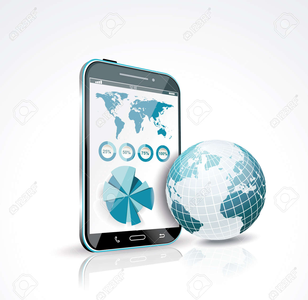 Illustration of a smart phone and globe  Vector Stock Vector - 19430480