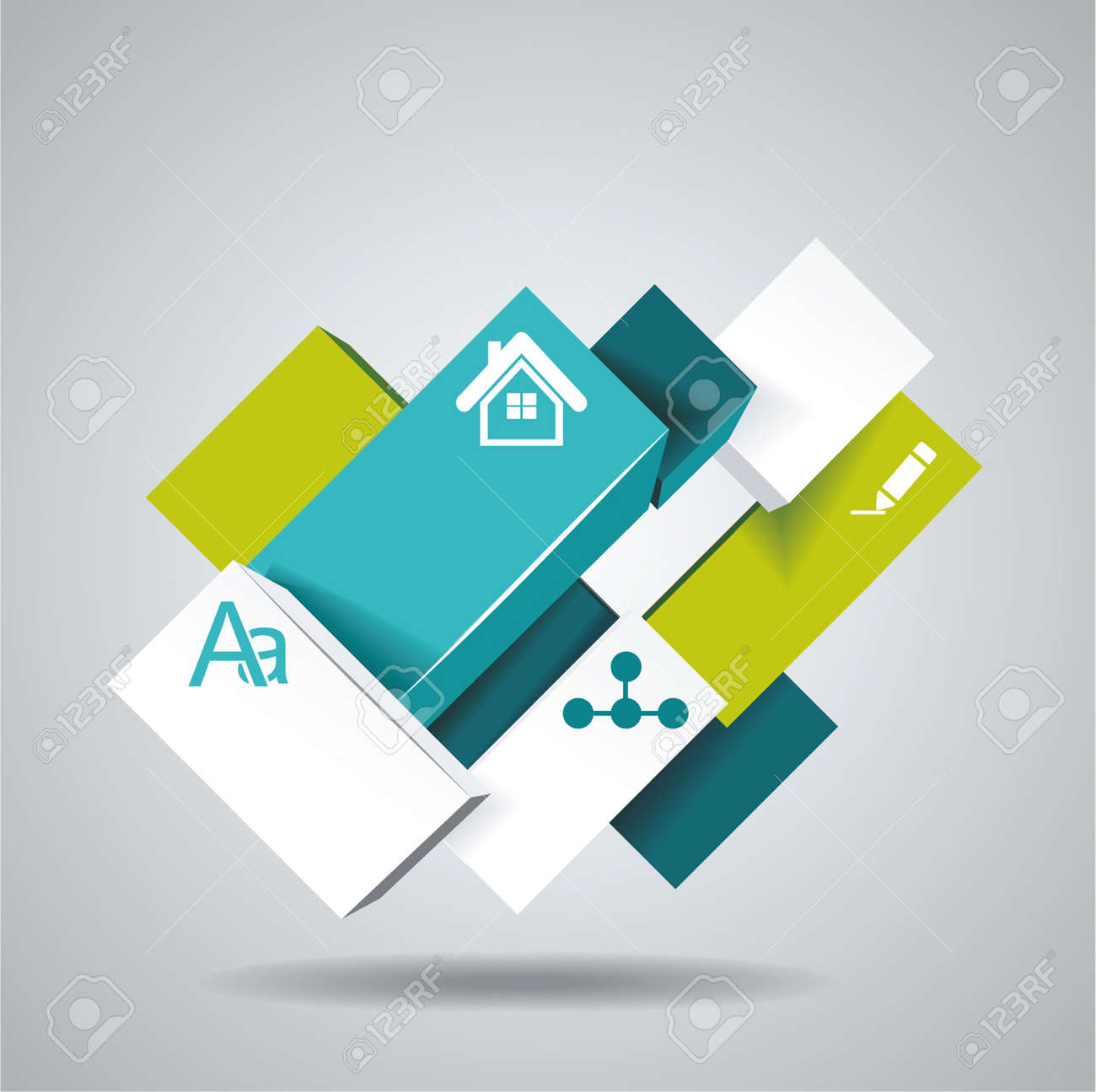 Vector illustration of 3d cubes, can use for infographics or webpage. Stock Vector - 21234536