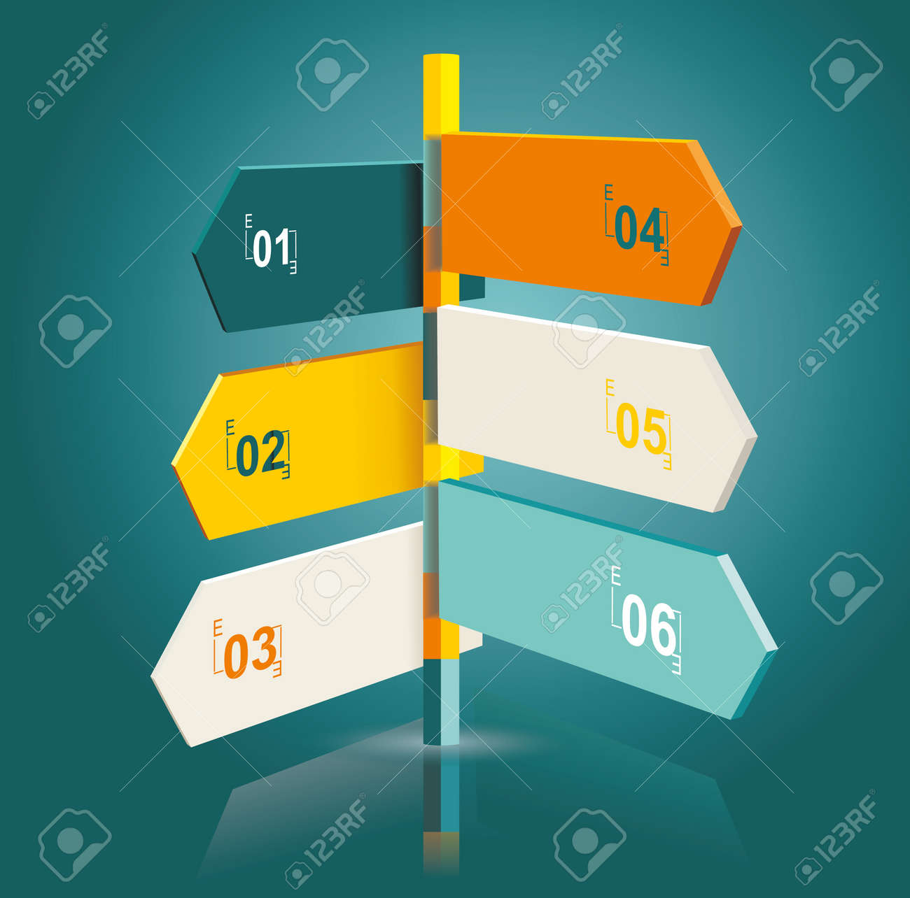 Diagram template of multidirectional pointers on a signpost Stock Vector - 21234641