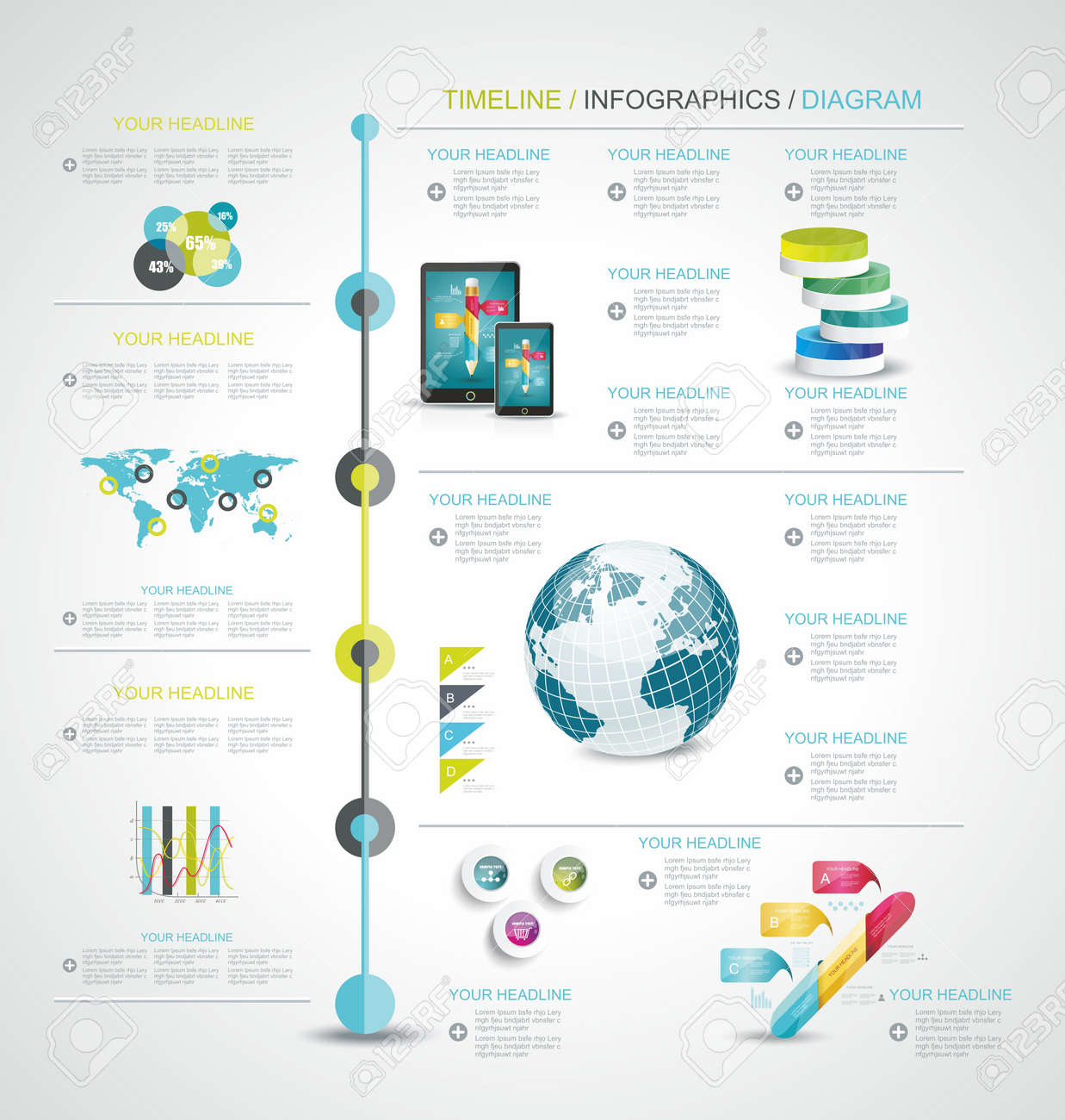 Timeline Design Template With World Map Web Buttons And Paper - Timeline design template