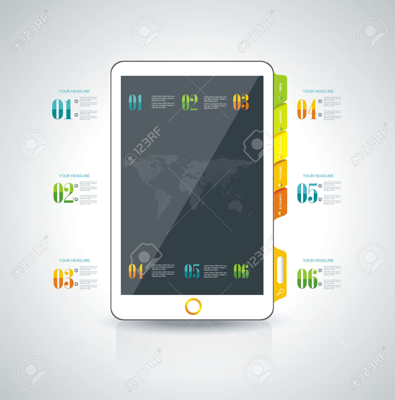 Website design template elements: Smart phone and icons set Stock Vector - 26578877