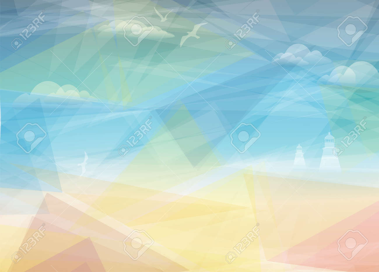 Beautiful Seaside View Poster Vector Background Royalty Free
