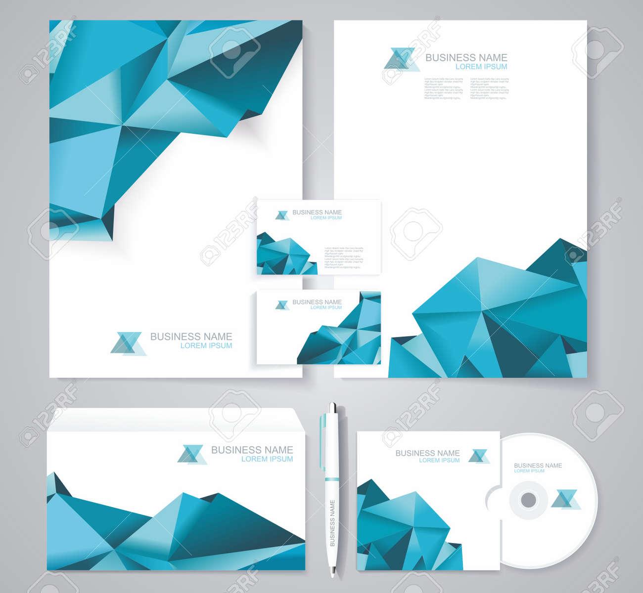 Corporate Design Vorlage   Corporate Identity Vorlage Mit Blauen Polygonale Design Elemente