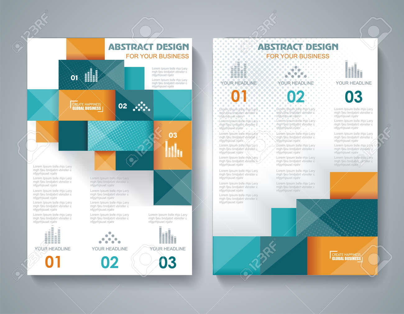 Vector Brochure Template Design With D Elements Royalty Free - 3d brochure template