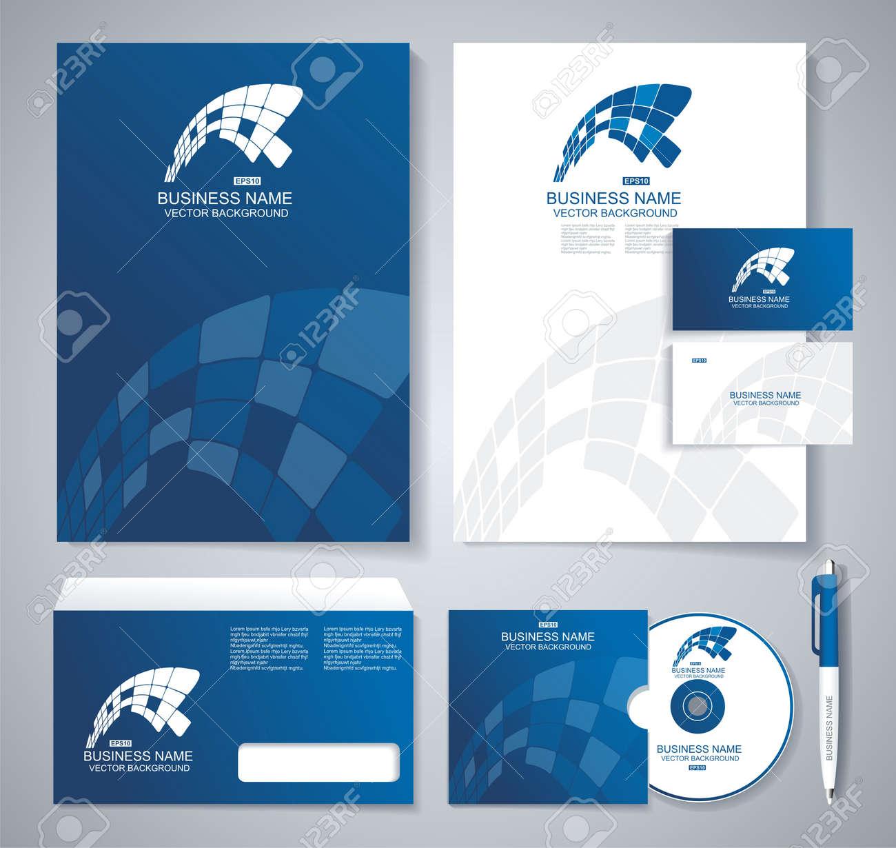 classic stationery template design blue corporate identity template
