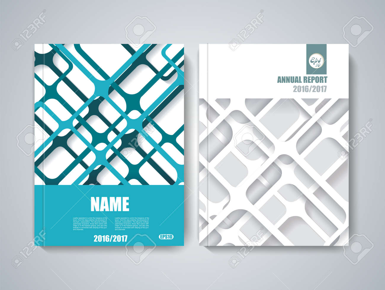 Brochure title sheet, polygonal stripe construction, spider web weave design. - 55810144