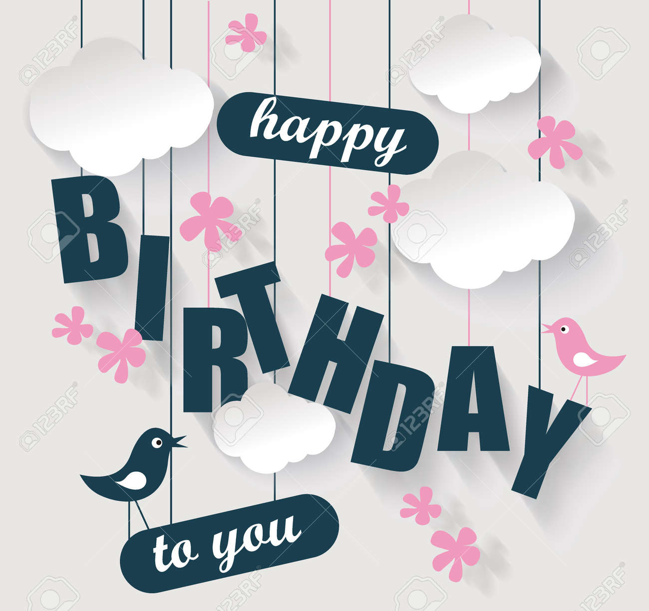 Happy birthday card with clouds and birds. Vector holiday illustration. - 65792634