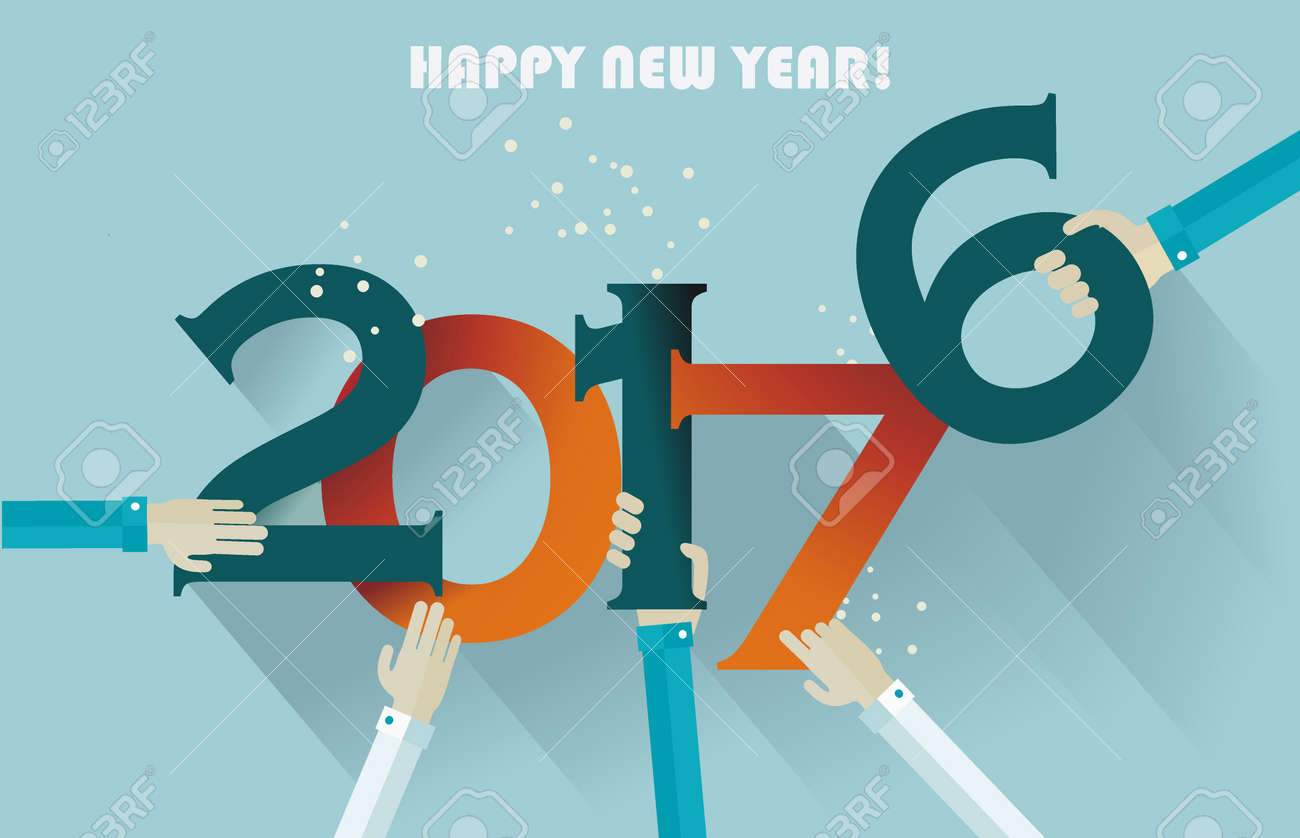 Happy New Year 2017 Creative Greeting Card Design Royalty Free