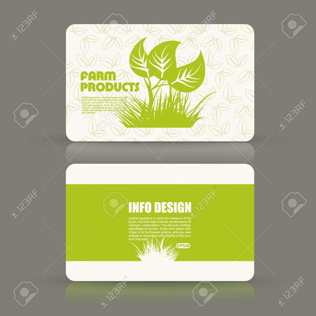 Card set eco design organic foods shop or vegan cafe business card card set eco design organic foods shop or vegan cafe business card with green foliage reheart Choice Image