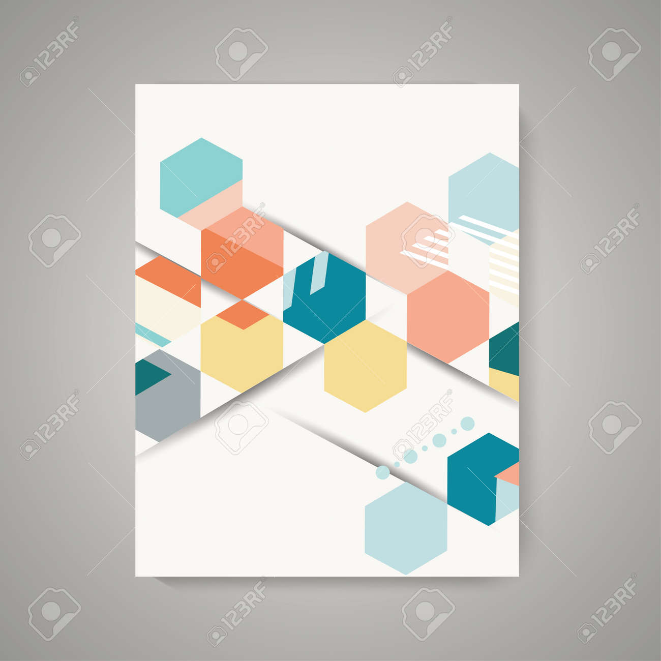 Vector design of Magazine Cover with abstract vintage polygonal hexagon background. Geometric pattern. - 121082632