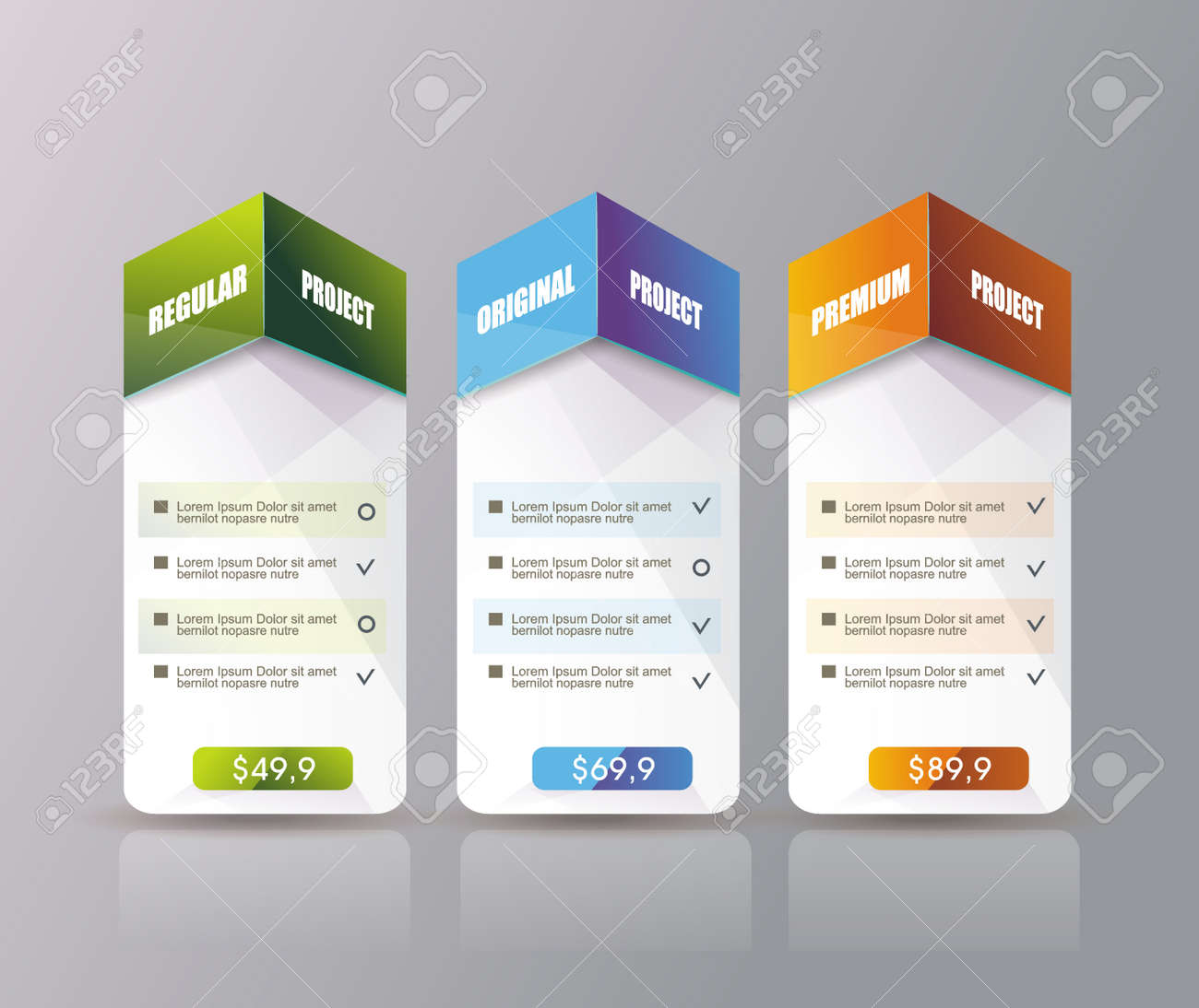 3 payment plans for online services, pricing table for websites and applications. - 159337426