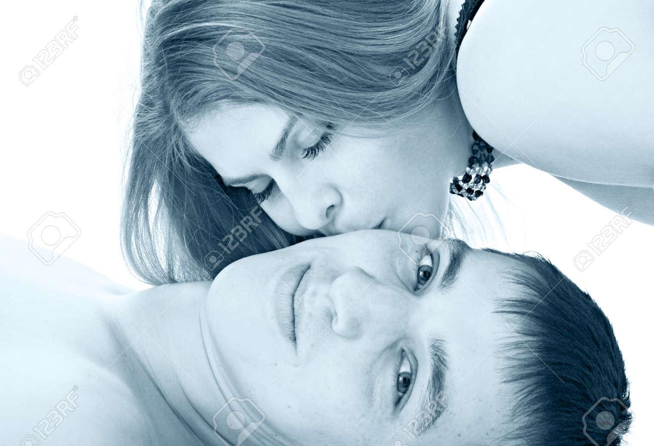 gentile kiss loving woman Stock Photo - 8847713