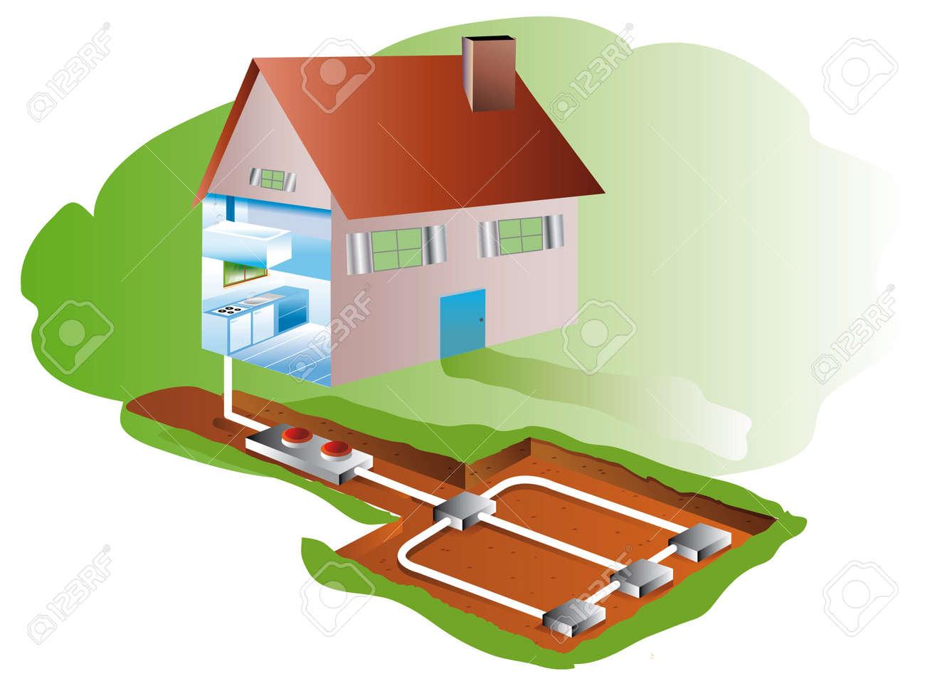 Haus Mit Erdwarme Klimaanlage Und Heizung Im Keller Lizenzfreie