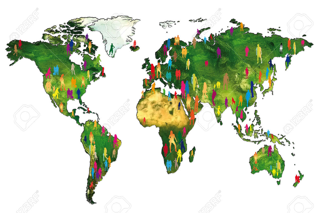 Silhouettes Of People On A World Map Showing The World Population – Map World Population