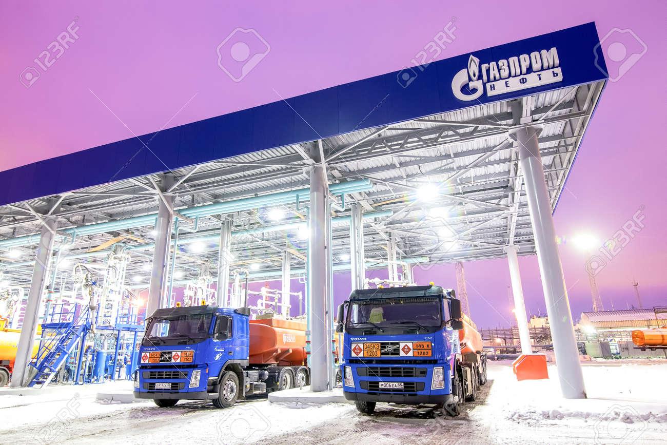 Omsk, Russia - December 6, 2011: Gazprom, gas station, filling