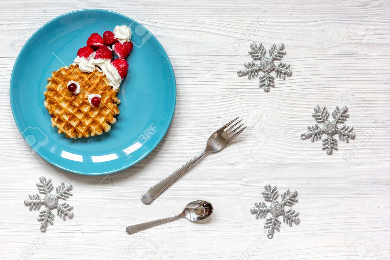 Frühstück Für Kinder Auf Weihnachten Mit Waffel Draufsicht Auf ...