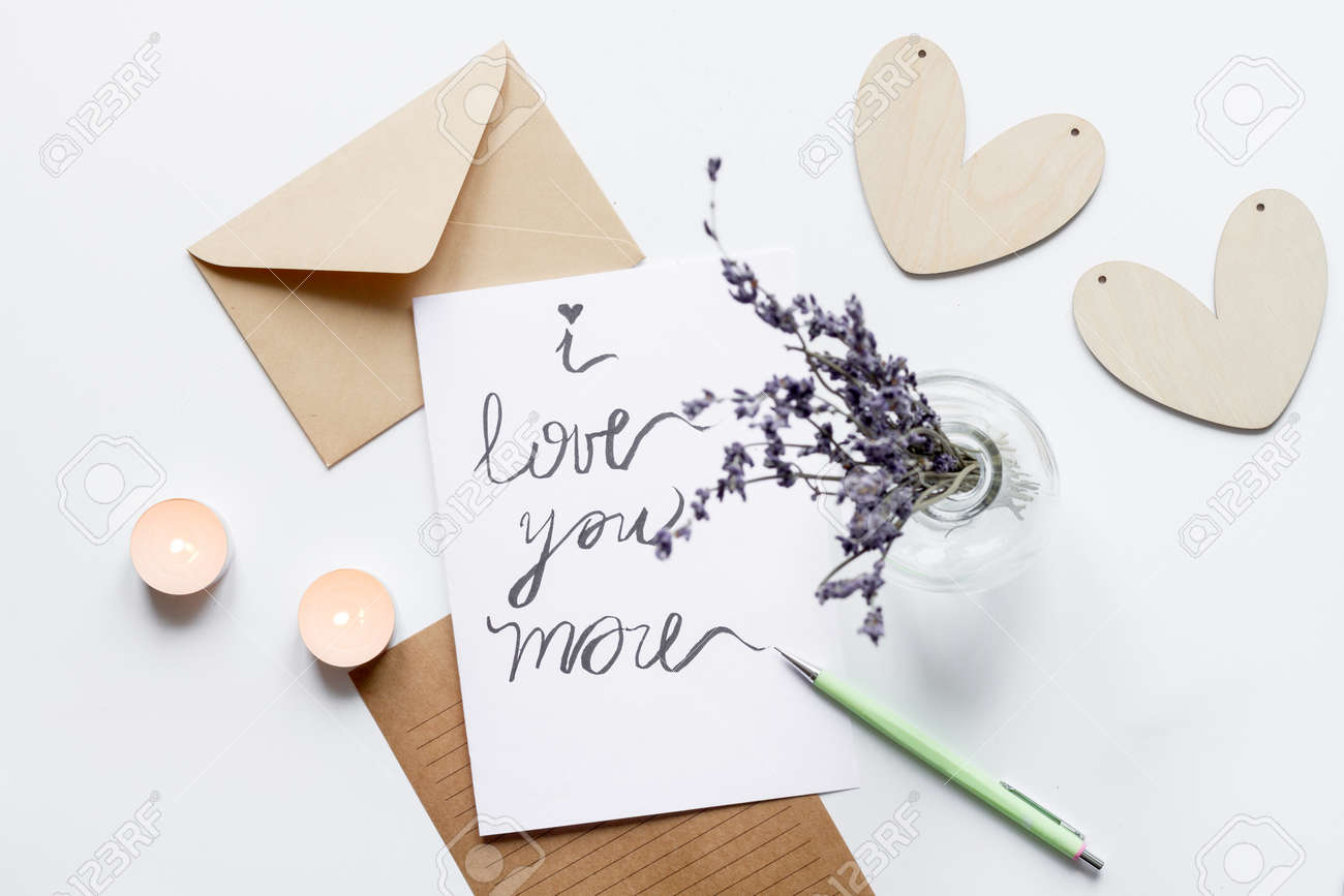 Concept Of Valentine Day Love Letter White Background Top View Stock