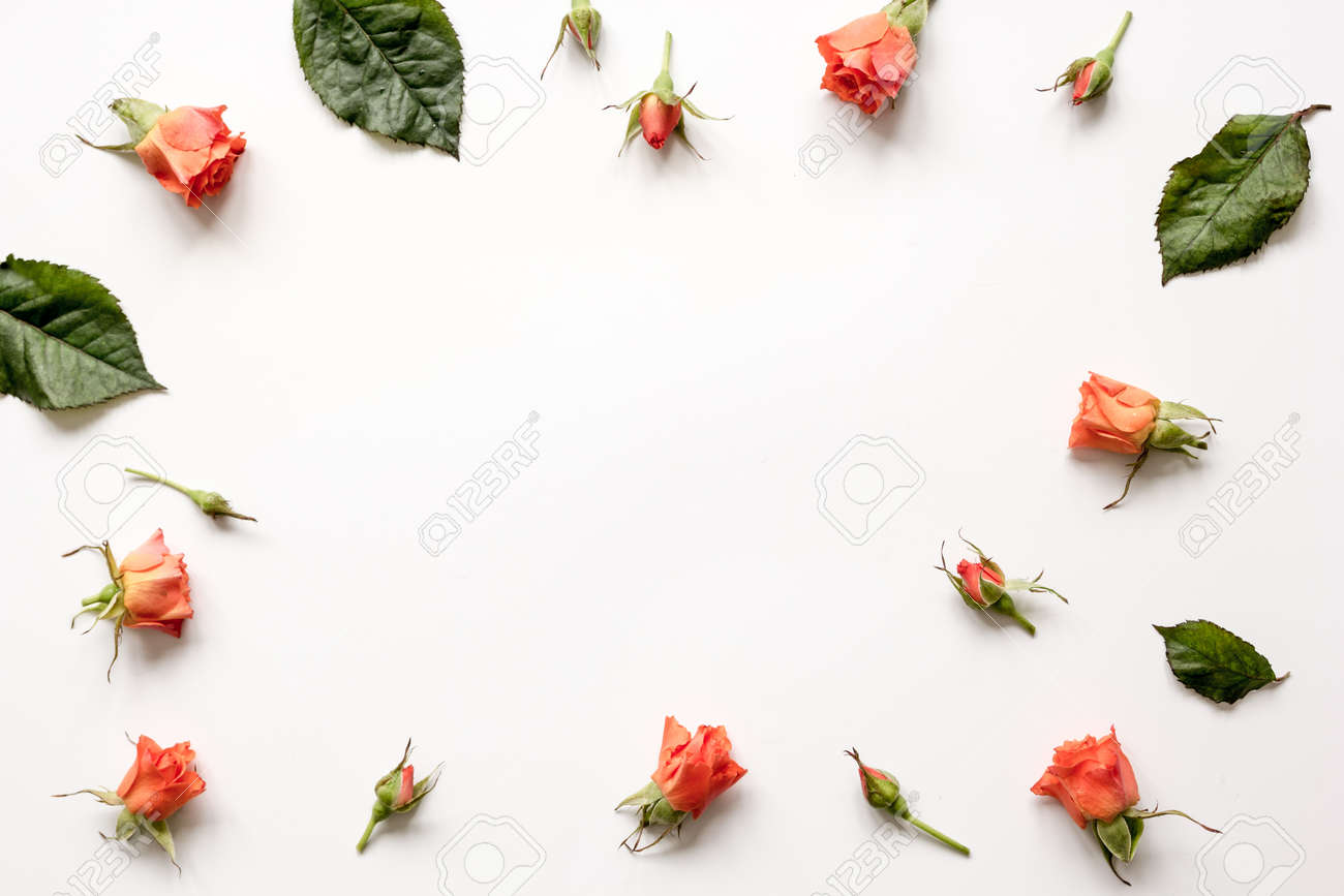 pattern of flowers on white background top view mock up - 70190454