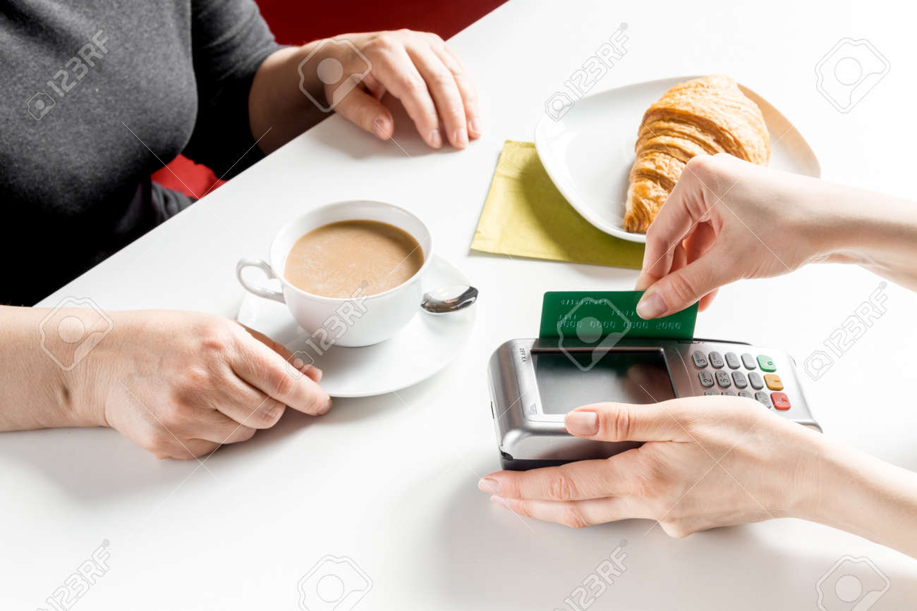 Credit cards for business gallery free business cards payment by credit card for business break in cafe on white table payment by credit card magicingreecefo Image collections