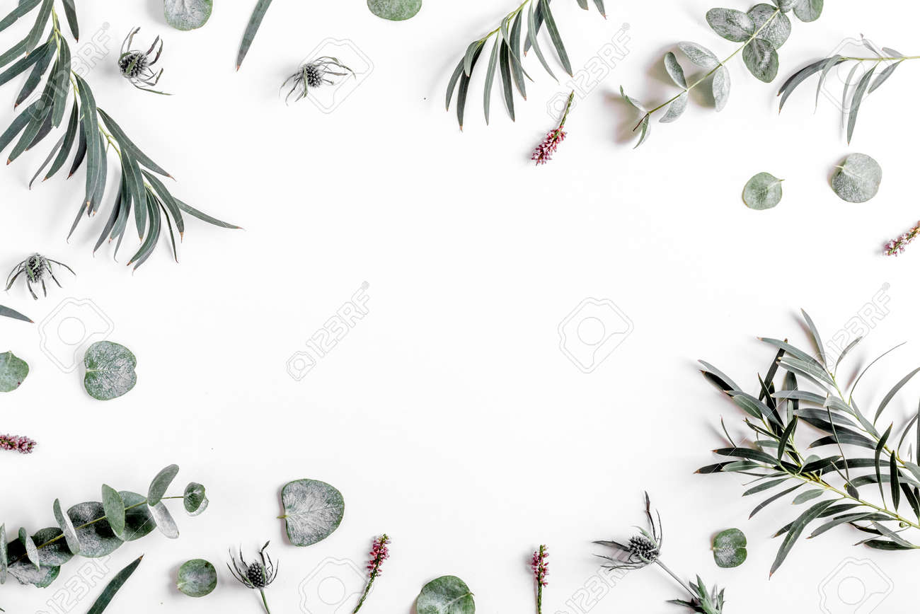 spring floral concept with green leaves on white table background top view mock-up - 75336008