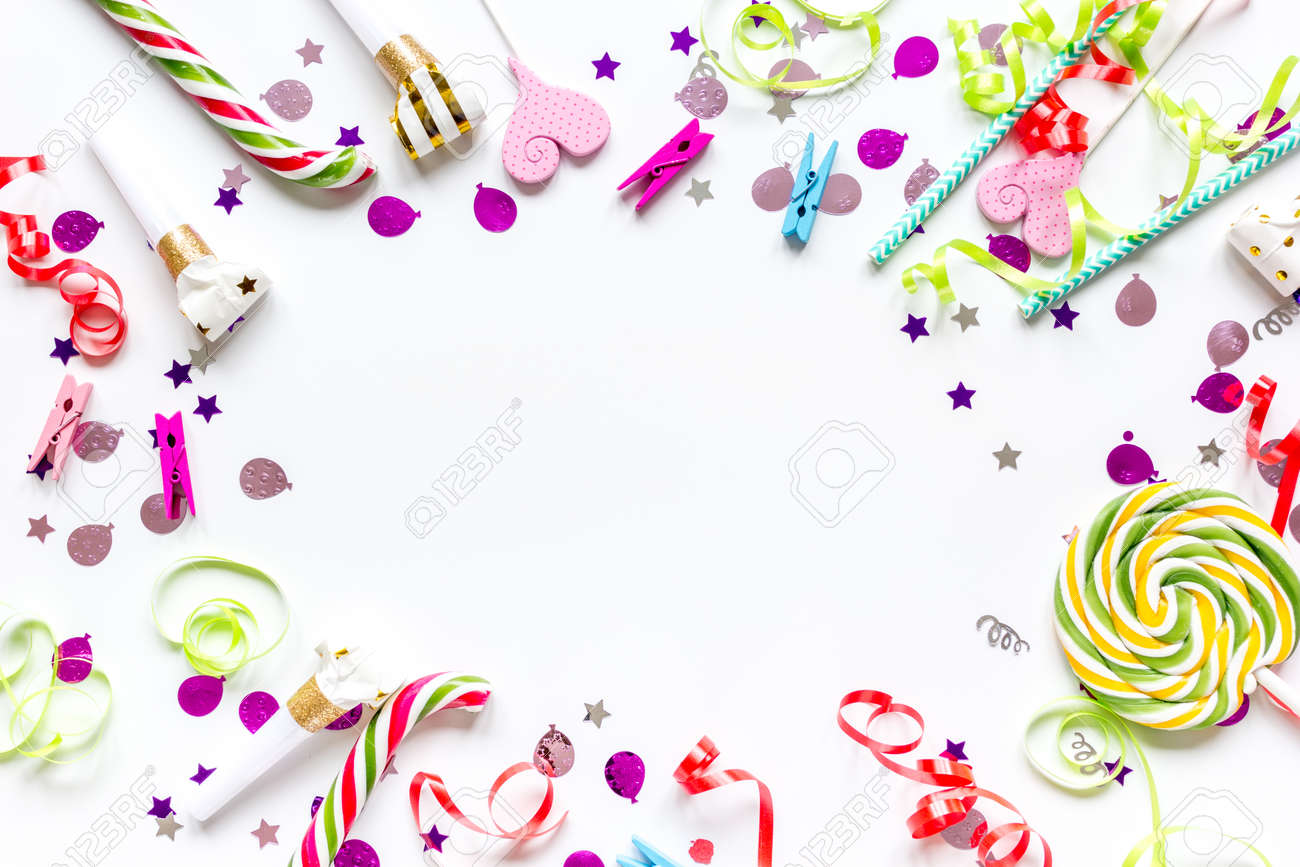 birthday party design with confetti top view space for text - 75985615