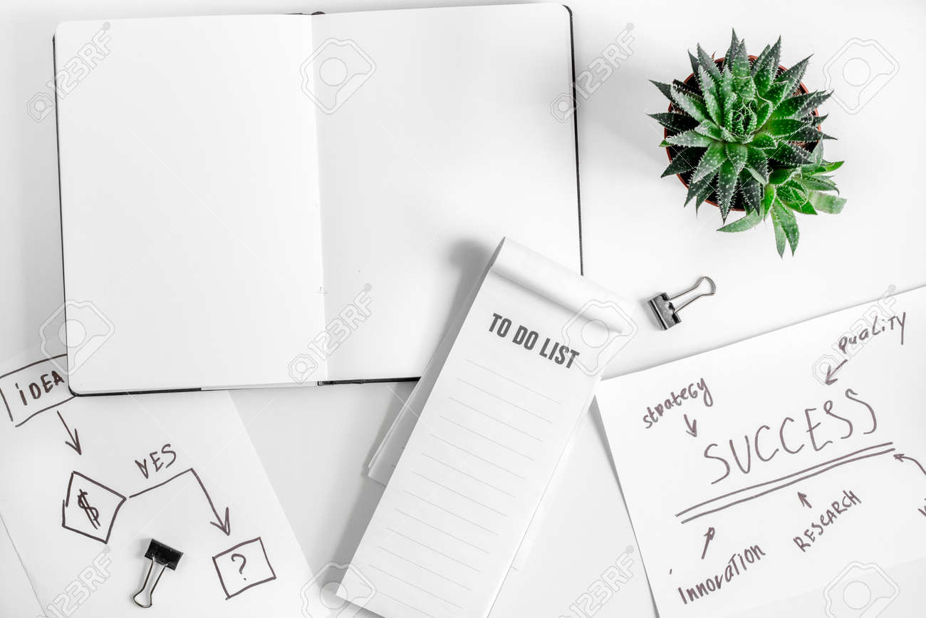 business plan development with copybook on desk background top
