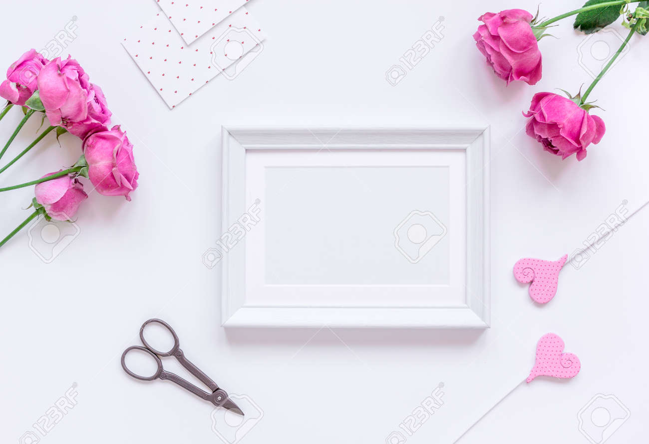 Mothers Day Gift With Peony Flowers And Frames Top View Mockup Stock ...