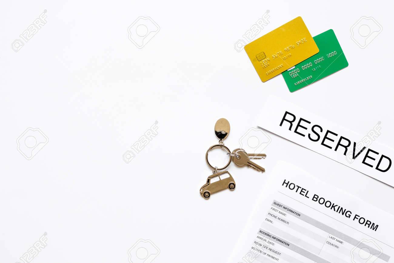 Reservation form on hotel reception desk background top view stock reservation form on hotel reception desk background top view mock up stock photo 81032098 thecheapjerseys Choice Image
