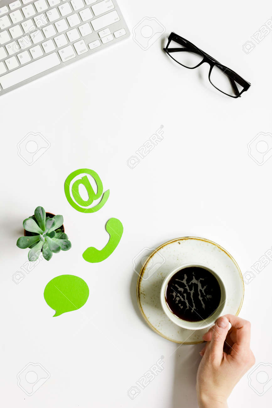 Company Feed Back Concept With Coffee And Keyboard White Background