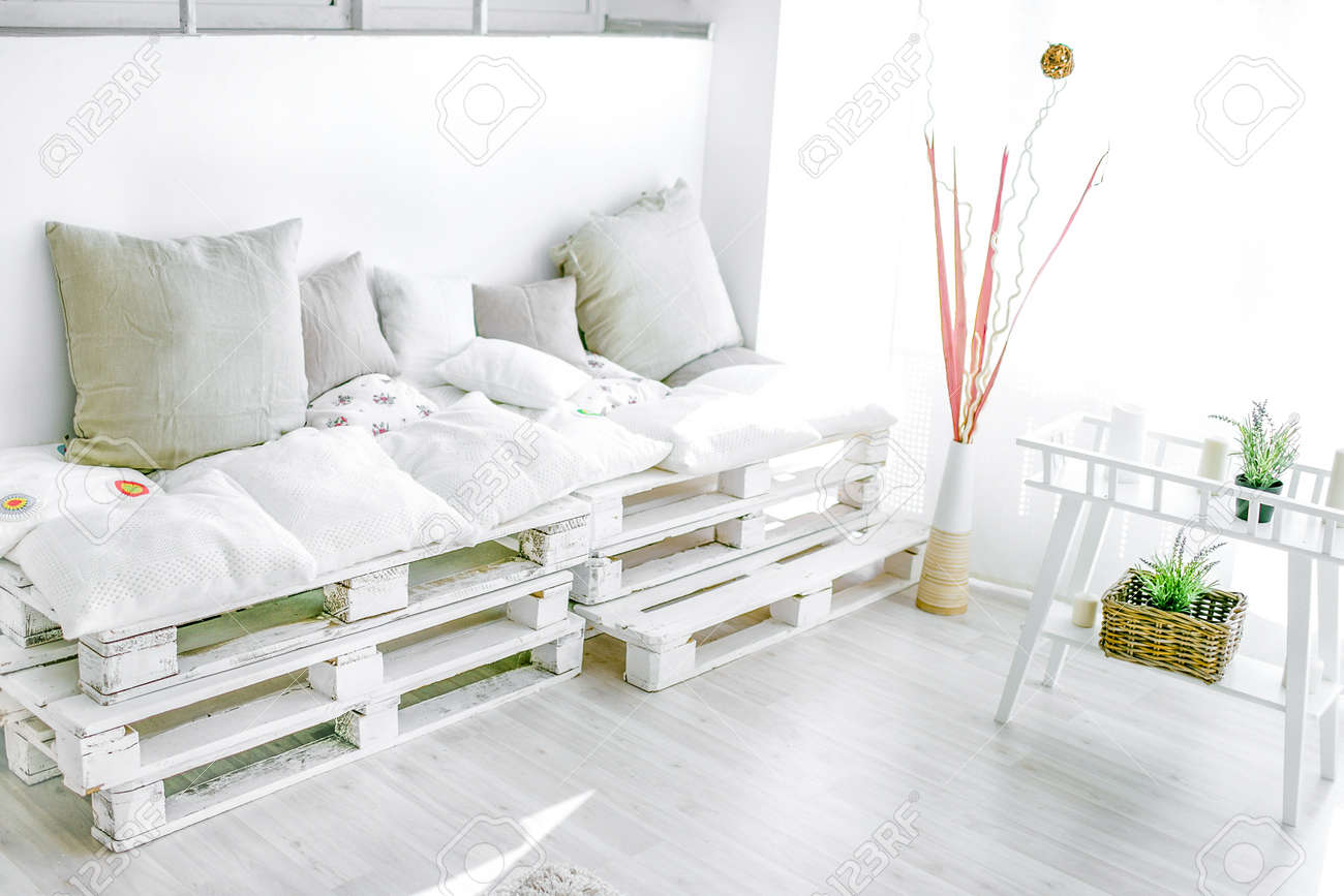 pallet interior home - white and bright sunny room - 103053972