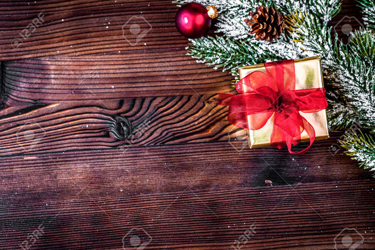 Christmas Top View.Packaging Christmas Gifts In Boxes On Wooden Background Top View