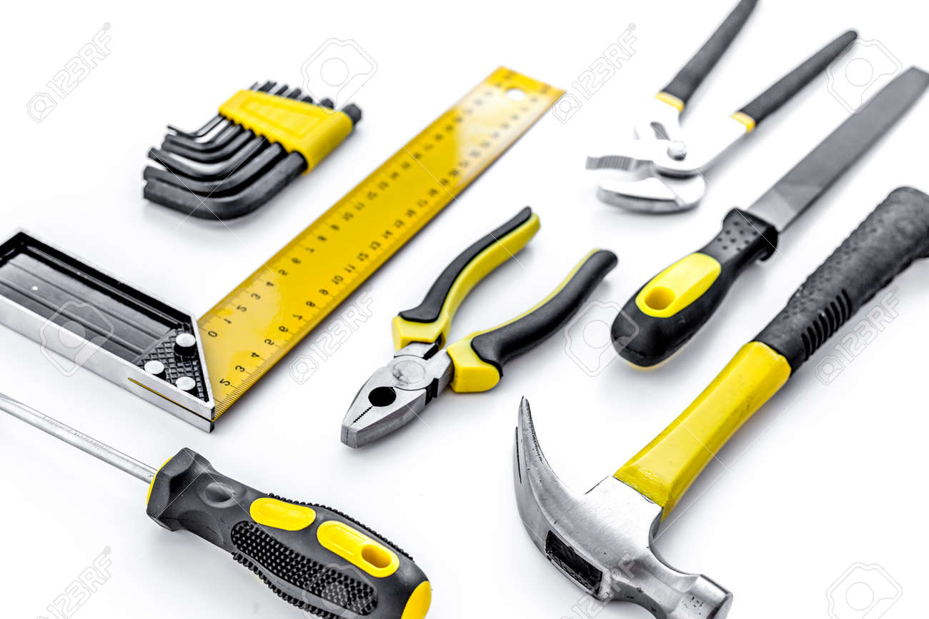 Tools for repairing top view on white background. - 138758159